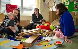 Pictured: Jeane Freeman met Kyle Ebbs (15 months) and his mother Abby and Oscar Cleaver (7 months) and his mother Paige during the visit. <br /> Today social security minister Jeane Freeman MSP visited voluntary organisation  Stepping Stones (North Edinburgh), a group which helps young parent families and pregnant women, and met parents and children. The visit marked the introduction of the first Social Security (Scotland) Bill.<br /> Ger Harley | EEm 21 June  2017
