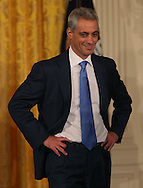 President Barack Obama , White House Chief of Staff Rahm Emanuel, and Pete Rouse at an event in the East Room of the White House to announce the resignation of Rahm Emanuel at Chief of Staff and the appointment of Pete Rouse as the next White House Chief of Staff.  Photograph by Dennis Brack