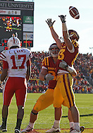November 06 2010: Iowa State Cyclones tight end Collin Franklin (88) and Iowa State Cyclones wide receiver Jake Williams (83) celebrate Williams 13 yard touchdown reception during the first half of the NCAA football game between the Nebraska Cornhuskers and the Iowa State Cyclones at Jack Trice Stadium in Ames, Iowa on Saturday November 6, 2010. Nebraska defeated Iowa State 31-30.