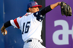 July 5, 2017 - Trenton, New Jersey, U.S - JUSTUS SHEFFIELD was the starting pitcher for the Trenton Thunder in the game tonight vs. the Fightin Phils at ARM & HAMMER Park. Here, he warms up in the bullpen before the game. (Credit Image: © Staton Rabin via ZUMA Wire)