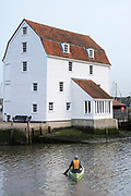 The Tide Mill living museum producing stoneground flour in a traditional clapboard timber house in Woodbridge in Suffolk, England, UK