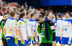 Gorazd Skof of Slovenia and other players of Slovenia after the handball match between Spain and Slovenia in  Main Round of 10th EHF European Handball Championship Serbia 2012, on January 25, 2012 in Spens Hall, Novi Sad, Serbia. Spain defeated Slovenia 35-32. (Photo By Vid Ponikvar / Sportida.com)