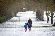 UNITED KINGDOM, Windsor: 01 February 2019. <br /> People enjoy a walk in the snow along the Long Walk in Windsor this morning. A number of schools across the country were closed today because of the adverse weather. <br /> Rick Findler / Story Picture Agency