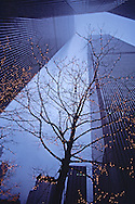 Twin Towers of the World Trade Center, Christmas lights, designed by Minoru Yamasaki, International Style II, Manhattan, New York City, NY