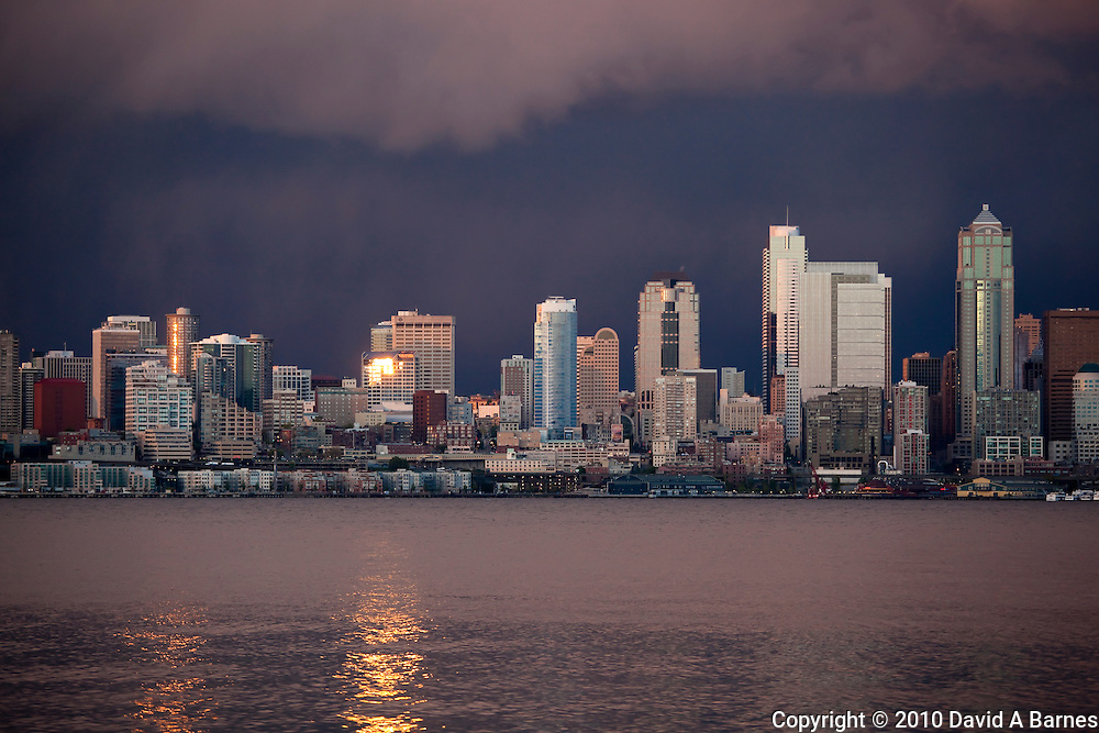 Stormy sky behind Seattle, Elliott Bay, Washington, USA