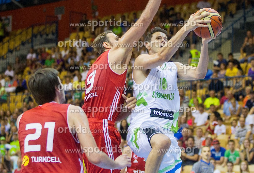 Semih Erden of Turkey vs Bostjan Nachbar of Slovenia during friendly match between National teams of Slovenia and Turkey for Eurobasket 2013 on August 4, 2013 in Arena Zlatorog, Celje, Slovenia. (Photo by Vid Ponikvar / Sportida.com)