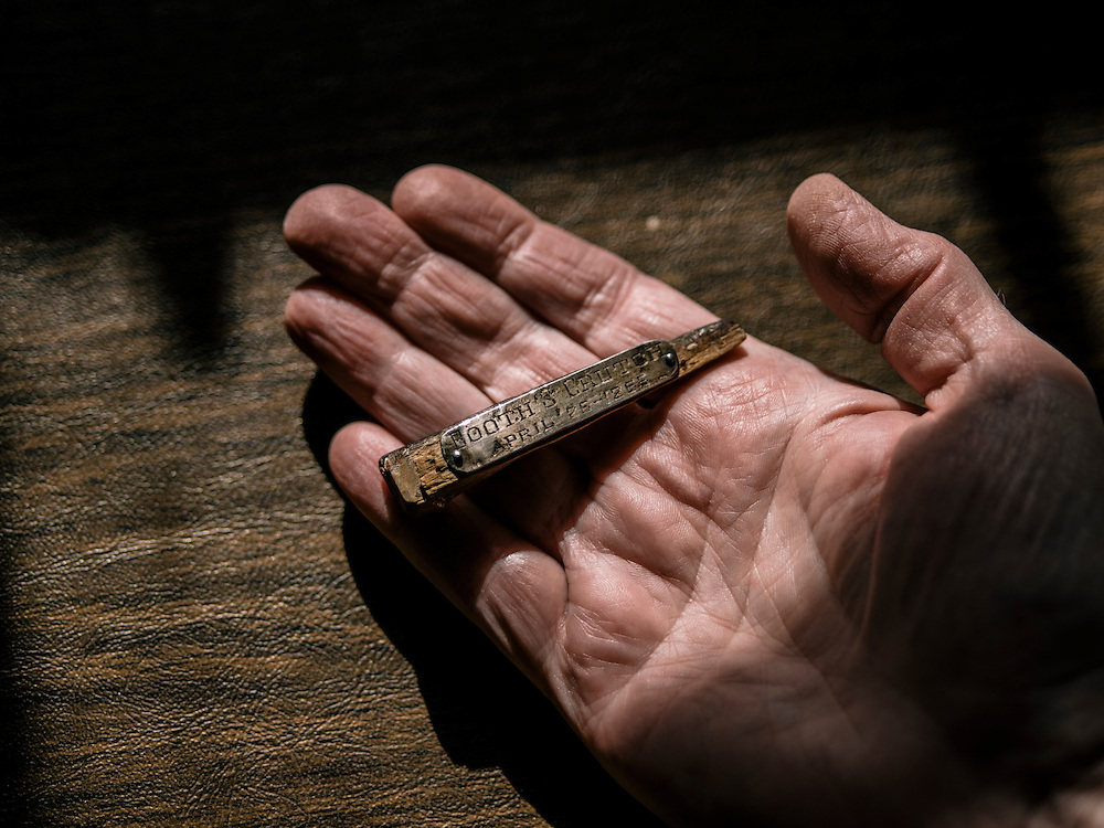 A piece of the crutch of John Wilkes Booth at the home of Terry Alford in Annandale, Va. on April 11, 2015. Alford's new book is titled Fortune's Fool: The Life of John Wilkes Booth.