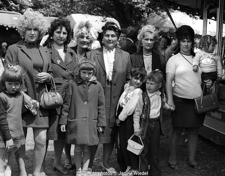 Gypsy women and children at Epson Fair at Horse races on Derby Day at Epson Downs racecourse in Surrey 1972