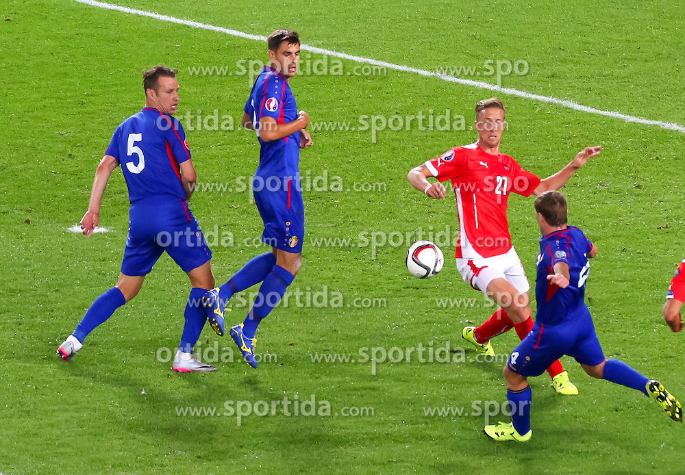 05.09.2015, Ernst Happel Stadion, Wien, AUT, UEFA Euro 2016 Qualifikation, Oesterreich vs Moldawien, Gruppe G, im Bild v.l. Victor Golovatenco (MDA), Igor Armas (MDA), Marc Janko (AUT), Iulian Erhan (MDA) // f.l.t.r. Victor Golovatenco (MDA), Igor Armas (MDA), Marc Janko (AUT), Iulian Erhan (MDA) during the UEFA EURO 2016 qualifier group G match between Austria and Moldova at the Ernst Happel Stadion in Wien, Austria on 2015/09/05. EXPA Pictures © 2015, PhotoCredit: EXPA/ Sebastian Pucher