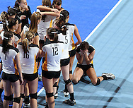 Waverly-Shell Rock's Kinsey Caldwell (9) cries on the court following the fifth game of a 3A semifinal in the state volleyball tournament at the U.S. Cellular Center at 370 1st Ave E on Friday afternoon, November 12, 2010. (Stephen Mally/Freelance)