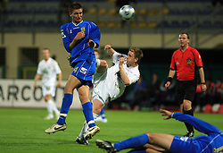 Jovan Vidovic of Domzale vs Darijo Biscan of Celje at 30th Round of Slovenian First League football match between NK Domzale and NK MIK CM Celje in Sports park Domzale, on April 25, 2009, in Domzale, Slovenia. Celje won 3:0. (Photo by Vid Ponikvar / Sportida)