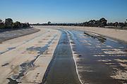 The Los Angeles River, City of Paramount, South LA, Califortnia, USA,