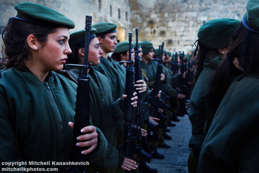 Female Israeli soldiers at a ceremony celebrating the end of their military service, Western Wall, Jerusalem, Israel,Traditions and culture