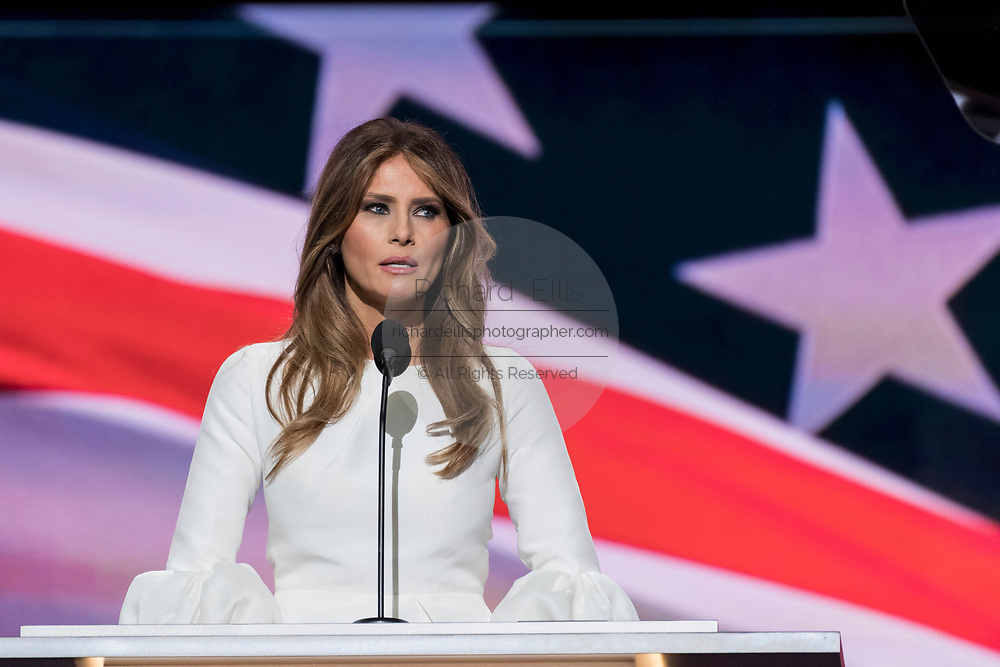 Melania Trump, fashion model and wife of Republican Presidential nominee Donald Trump addresses the first day of the Republican National Convention at the Quicken Loans Center July 18, 2016 in Cleveland, Ohio.