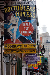 16 December, 05. New Orleans, Louisiana. Post Katrina aftermath.<br /> Big Daddy's famous strip club sign on Bourbon Street, New Orleans, Louisiana. <br /> Photo; ©Charlie Varley/varleypix.com