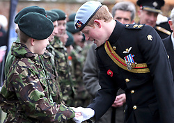© under license to London News Pictures.  09/11/10 ..Prince Harry attends the opening of The Royal British Legion Wootton Bassett Field of Remembrance, Lydiard Park, Wiltshire, meeting army cadets after setting off service personnel on The Royal British Legion March For Honour to London, ..to commemorate servicemen and women who have fallen in Iraq and Afghanistan.