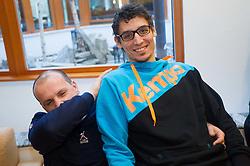 Gorazd Skof and Jure Dobelsek at press conference of Slovenian Handball Men National Team, on January 13, 2011, in Zrece, Slovenia. (Photo by Vid Ponikvar / Sportida)