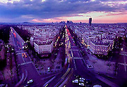The view looking west at dusk from atop the Arc de Triomphe in Paris, France