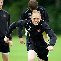 St Johnstone Training....14.08.09<br /> Steven Anderson during a sprint race during training this morning before tomorrow's game against Motherwell<br /> Picture by Graeme Hart.<br /> Copyright Perthshire Picture Agency<br /> Tel: 01738 623350  Mobile: 07990 594431