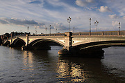 Battersea Bridge in the early evening sunshine.