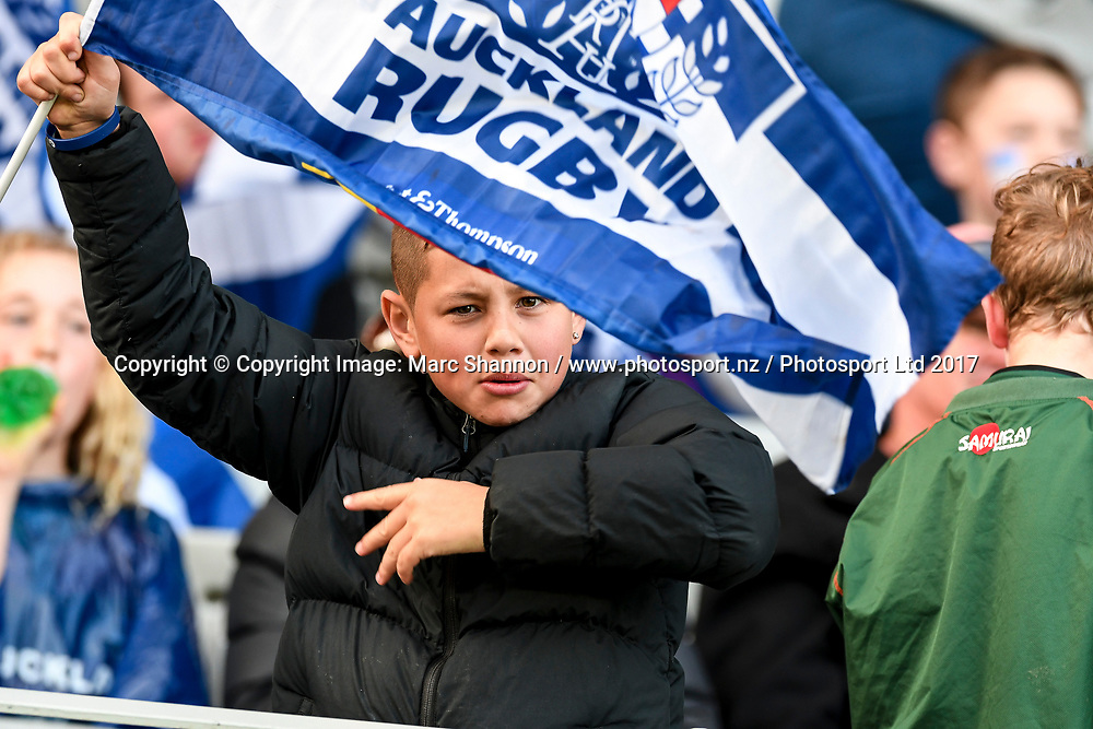 Auckland fan during the Auckland vs Northland match.<br /> Auckland v Northland, Mitre 10 Cup Rugby, Eden Park, Auckland, New Zealand. 26 August 2017. &copy; Copyright Image: Marc Shannon / www.photosport.nz.