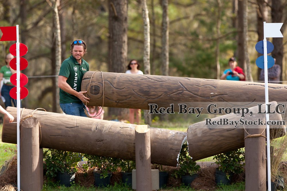 Levi Ryckewaert replacing a damaged prolog at the 2012 Red Hills International Horse Trials in Tallahassee, Florida.