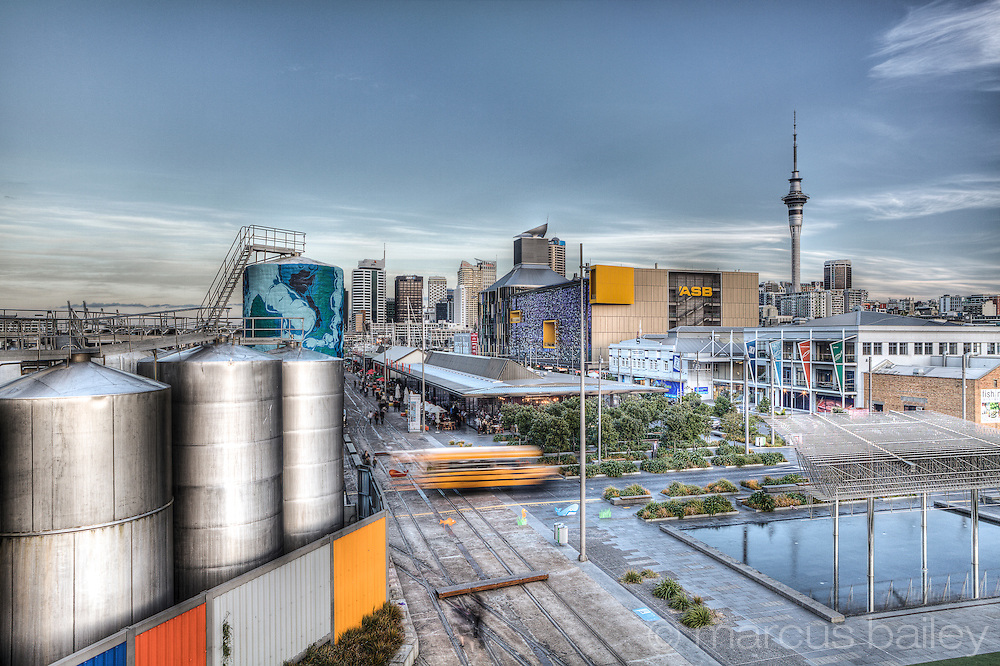 Elevated view of the Wynyard Quarter, Auckland, New Zealand