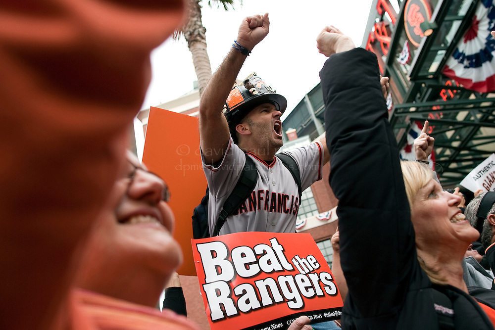 SAN FRANCISCO, CA - OCT 27:  Tom Neuerburg of Tracy California shows his support of the Giants outside AT&T Park as the San Francisco Giants and the Texas Rangers start game 1 of the 2010 World Series on October 27, 2010 in San Francisco, California.  Photography by David Paul Morris