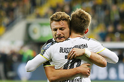 03.03.2015, Stadion Dresden, Dresden, GER, DFB Pokal, SG Dynamo Dresden vs Borussia Dortmund, Achtelfinale, im Bild Ciro Immobile (#9, Borussia Dortmund) bedankt sich bei Jakub Blaszczykowski (#16, Borussia Dortmund) // SPO during German DFB Pokal last sixteen match between SG Dynamo Dresden and Borussia Dortmund at the Stadion Dresden in Dresden, Germany on 2015/03/03. EXPA Pictures &copy; 2015, PhotoCredit: EXPA/ Eibner-Pressefoto/ Hundt<br /> <br /> *****ATTENTION - OUT of GER*****