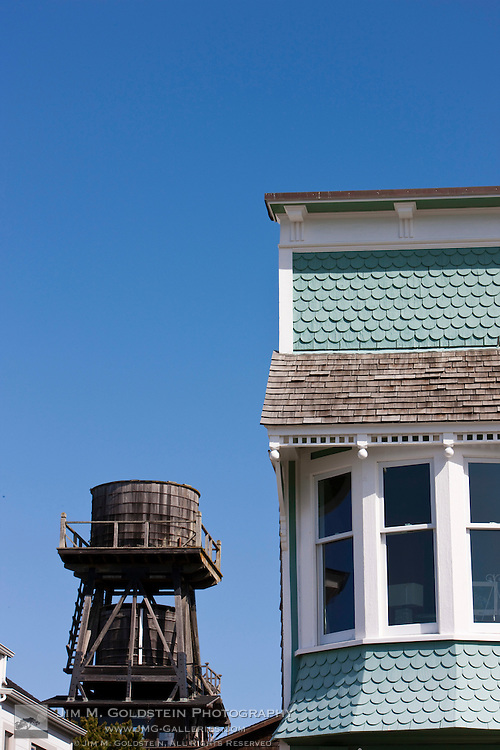Architectural detail and water tower, downtown, Mendocino