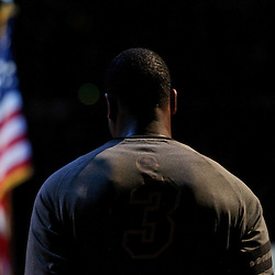 Jun 12, 2012; Oklahoma City, OK, USA; Miami Heat shooting guard Dwyane Wade (3) stands for the national anthem before tip off of game one in the 2012 NBA Finals against the Oklahoma City Thunder at the Chesapeake Energy Arena.  Mandatory Credit: Derick E. Hingle-US PRESSWIRE