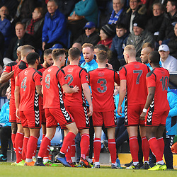 TELFORD COPYRIGHT MIKE SHERIDAN 16/2/2019 - Gavin Cowan delivers an impromptu team talk to his players in the first half during the Vanarama Conference North fixture between Stockport County and AFC Telford United at Edgeley Park
