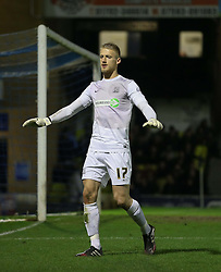 Daniel Bentley Of Southend United appeals for calm - Photo mandatory by-line: Robin White/JMP - Tel: Mobile: 07966 386802 24/03/2014 - SPORT - FOOTBALL - Roots Hall - Southend - Southend United vs Oxford United - Sky Bet League 2