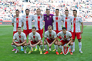 (UP L-R) Grzegorz Krychowiak and Maciej Wilusz and Kamil Glik and goalkeeper Artur Boruc and Arkadiusz Milik and Lukasz Piszczek and Grzegorz Wojtkowiak (DOWN L-R) Mateusz Klich and  Maciej Rybus and Kamil Grosicki and Robert Lewandowski all from Poland pose before international friendly match between Poland and Lithuania at PGE Arena in Gdansk, Poland.<br /> <br /> Poland, Gdansk, June 06, 2014<br /> <br /> Picture also available in RAW (NEF) or TIFF format on special request.<br /> <br /> For editorial use only. Any commercial or promotional use requires permission.<br /> <br /> Mandatory credit:<br /> Photo by © Adam Nurkiewicz / Mediasport
