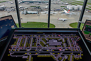 Detail of NATS air traffic controllers' screen plan of ground operations, in control tower at Heathrow airport, London.