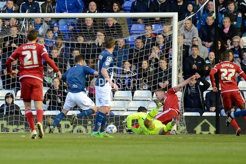 Middlesbrough striker Jordan Rhodes scores the equaliser during the Sky Bet Championship match between Birmingham City and Middlesbrough at St Andrews, Birmingham, England on 29 April 2016. Photo by Alan Franklin.