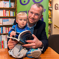 Pádraig Óg Ó Ruairc with his son Tomás at the Launch of 'The Men Will Talk To Me' in Ennis Bookshop