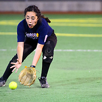 070213  Adron Gardner/Independent<br /> <br /> Gallup All Star Hallie Reyes (7) scoops a Din&eacute; Wildcat grounder at Ford Canyon Park in Gallup Tuesday.