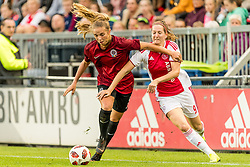(L-R) Schuyler Hesseltine Debree of AC Sparta Praha women, Ellen Jansen of Ajax women during the UEFA Women's Champions League match between Ajax Amsterdam and Sparta Praag at Sportpark De Toekomst on September 12, 2018 in Amsterdam, The Netherlands