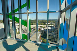 United States, Washington, Bellevue, vglass stairwell of Bellevue City Hall, and view to the Southeast