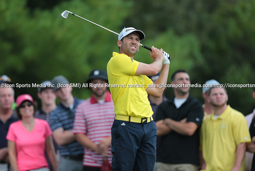 September 2, 2013: Sergio Garcia reacts to his tee shot on 3 during the Final Round of the Deutsche Bank Championship at TPC Boston, Norton, MA on September 2, 2013.