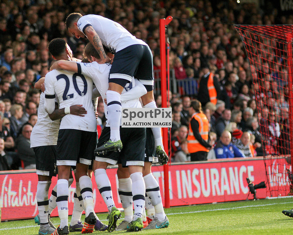 Tottenham celebrate During Bournemouth vs Tottenham Hotspur on Sunday 25th of October 2015.