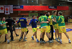 Players of Merkur celebrate at handball game RD Slovan vs RD Merkur  in 7th round of MIK First league, on October 24, 2008 in Ljubljana, Slovenia. (Photo by Vid Ponikvar / Sportal Images)