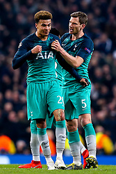 Jan Vertonghen and Dele Alli of Tottenham Hotspur celebrate Fernando Llorente of Tottenham Hotspur scoring a goal to make it 4-3 - Mandatory by-line: Robbie Stephenson/JMP - 17/04/2019 - FOOTBALL - Etihad Stadium - Manchester, England - Manchester City v Tottenham Hotspur - UEFA Champions League Quarter Final 2nd Leg