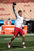 Arizona Cardinals rookie quarterback Josh Rosen (3) throws a pass while warming up before the 2018 NFL regular season week 2 football game against the Los Angeles Rams on Sunday, Sept. 16, 2018 in Los Angeles. The Rams won the game in a 34-0 shutout. (©Paul Anthony Spinelli)