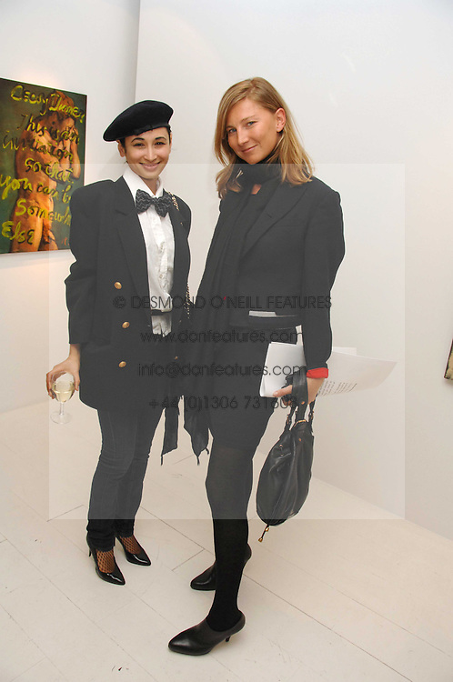 Left to right, stylist HANNAH BHUIYA and  ELIZABETH VON GUTTMAN at an exhibition of paintings by artist Rene Richard at the Scream Gallery, Bruton Street, London on 3rd April 2008.<br /><br />NON EXCLUSIVE - WORLD RIGHTS
