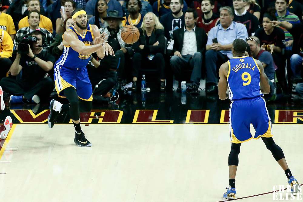 07 June 2017: Golden State Warriors center JaVale McGee (1) passes the ball to Golden State Warriors forward Andre Iguodala (9) during the Golden State Warriors 118-113 victory over the Cleveland Cavaliers, in game 3 of the 2017 NBA Finals, at  the Quicken Loans Arena, Cleveland, Ohio, USA.