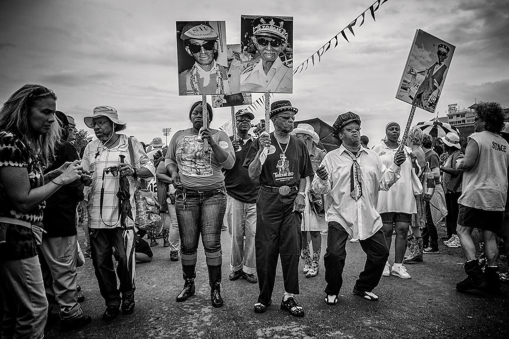 Jazz Funeral for Uncle Lionel Batiste with the Treme Brass Band and friends parading during the 2013 New Orleans Jazz & Heritage Music Festival at Fair Grounds Race Course on April 28, 2013 in New Orleans, Louisiana. USA.