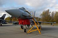 """03 NOV 2003, LAAGE/GERMANY:<br /> Eurofighter EF 2000 """"Typhoon"""" hier in der zweisitzigen Ausbildungsversion, neues Jagdflugzeug der Bundesluftwaffe, Jagdgeschwader 73 """"Steinhoff"""", Fliegerhorst Laage<br /> IMAGE: 20031103-01-003<br /> KEYWORDS: Bundeswehr, Bundesluftwaffe, Jet, Kampfflugzueg"""