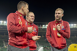 March 21, 2019 - Vienna, Austria - Stefan Lainer, Xavier Schlager and Konrad Laimer of Austria during the UEFA European Qualifiers 2020 match between Austria and Poland at Ernst Happel Stadium in Vienna, Austria on March 21, 2019  (Credit Image: © Andrew Surma/NurPhoto via ZUMA Press)